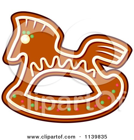 Clipart Of A Rocking Horse Gingerbread Christmas Cookie - Royalty Free Vector Illustration by Vector Tradition SM