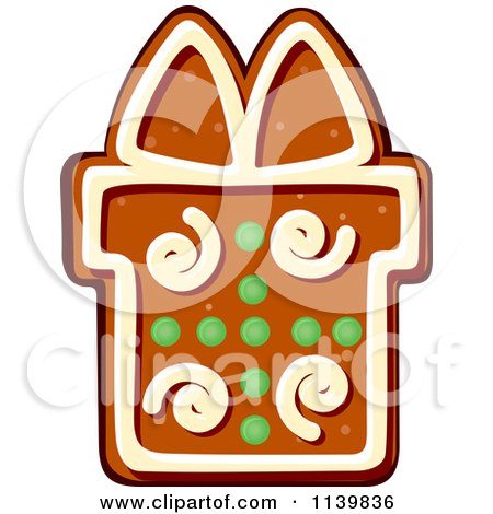 Clipart Of A Gift Gingerbread Christmas Cookie 1 - Royalty Free Vector Illustration by Vector Tradition SM