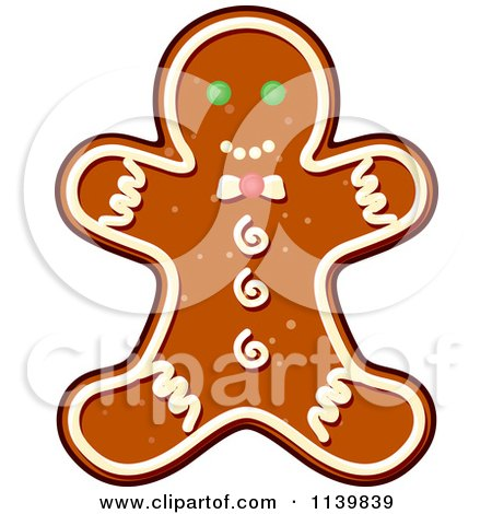 Clipart Of A Gingerbread Man Christmas Cookie - Royalty Free Vector Illustration by Vector Tradition SM