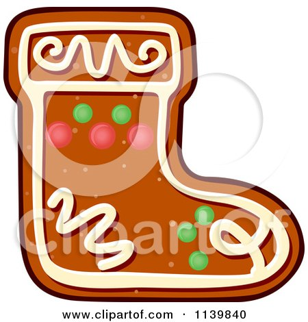 Clipart Of A Stocking Gingerbread Christmas Cookie - Royalty Free Vector Illustration by Vector Tradition SM