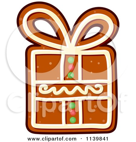 Clipart Of A Gift Gingerbread Christmas Cookie 2 - Royalty Free Vector Illustration by Vector Tradition SM
