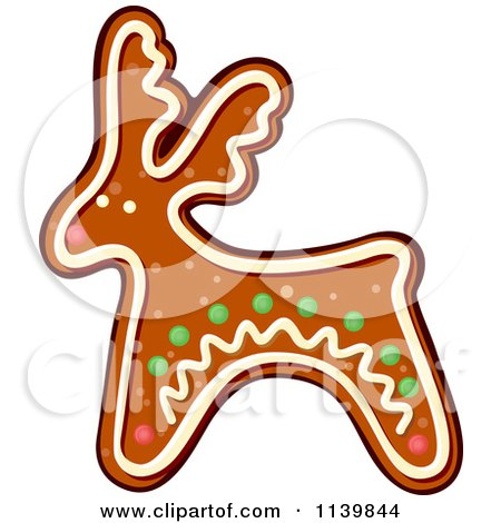 Clipart Of A Reindeer Gingerbread Christmas Cookie - Royalty Free Vector Illustration by Vector Tradition SM