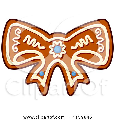 Clipart Of A Bow Gingerbread Christmas Cookie - Royalty Free Vector Illustration by Vector Tradition SM