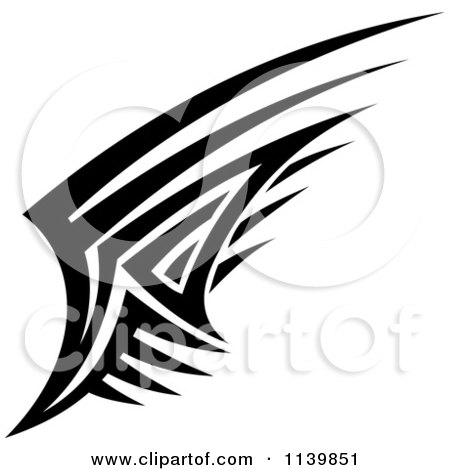 Clipart Of A Black And White Tribal Wing 1 - Royalty Free Vector Illustration by Vector Tradition SM