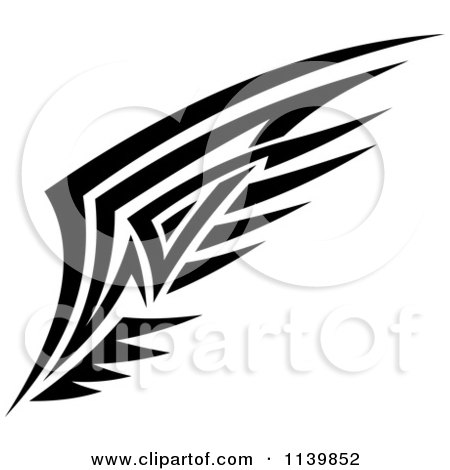Clipart Of A Black And White Tribal Wing 10 - Royalty Free Vector Illustration by Vector Tradition SM