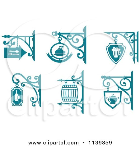 Clipart Of Teal Pub Cafe Restaurant Shingle Signs 2 - Royalty Free Vector Illustration by Vector Tradition SM