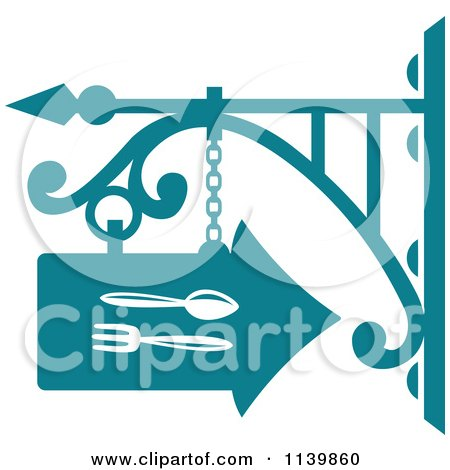 Clipart Of A Teal Restaurant Diner Shingle Sign 6 - Royalty Free Vector Illustration by Vector Tradition SM