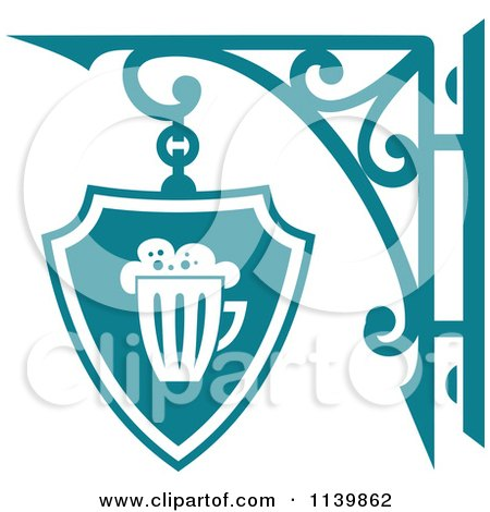 Clipart Of A Teal Pub Shingle Sign 2 - Royalty Free Vector Illustration by Vector Tradition SM