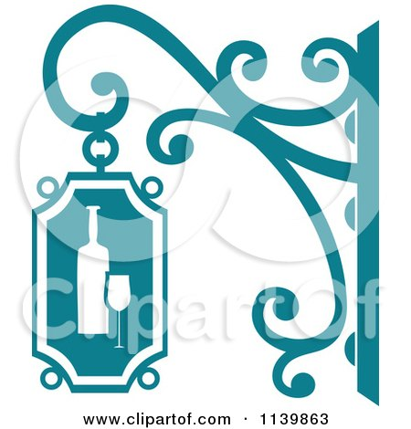 Clipart Of A Teal Wine Shingle Sign - Royalty Free Vector Illustration by Vector Tradition SM