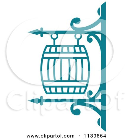 Clipart Of A Teal Pub Shingle Sign 3 - Royalty Free Vector Illustration by Vector Tradition SM