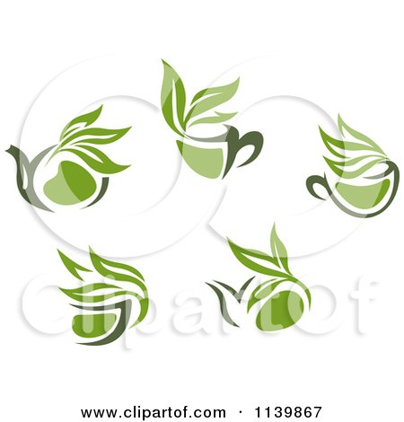 Clipart Of Cups Of Green Tea Or Coffee 2 - Royalty Free Vector Illustration by Vector Tradition SM