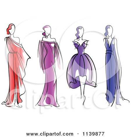 Clipart Of Models In Dresses - Royalty Free Vector Illustration by Vector Tradition SM