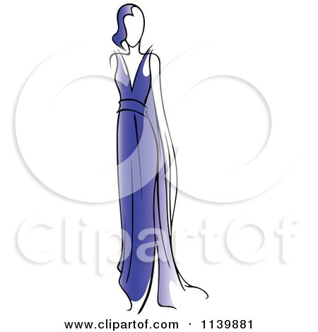 Clipart Of A Model In A Blue Dress - Royalty Free Vector Illustration by Vector Tradition SM