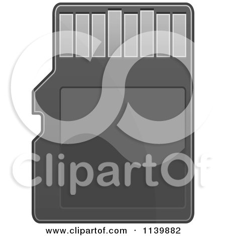 Clipart Of A Black Sd Memory Card - Royalty Free Vector Illustration by Vector Tradition SM