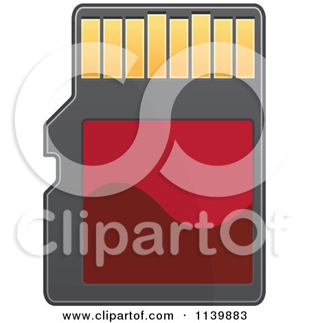 Clipart Of A Red Sd Memory Card - Royalty Free Vector Illustration by Vector Tradition SM