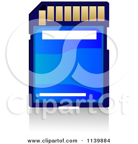 Clipart Of A Blue Memory Sd Camera Card - Royalty Free Vector Illustration by Vector Tradition SM