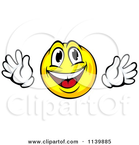 Clipart Of A Happy Yellow Emoticon With Hands - Royalty Free Vector Illustration by Vector Tradition SM
