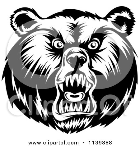 Clipart Of A Black And White Mad Grizzly Bear Head - Royalty Free Vector Illustration by Vector Tradition SM