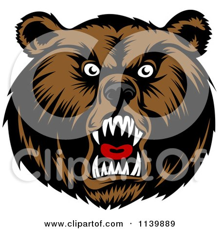 Clipart Of A Mad Grizzly Bear Head - Royalty Free Vector Illustration by Vector Tradition SM