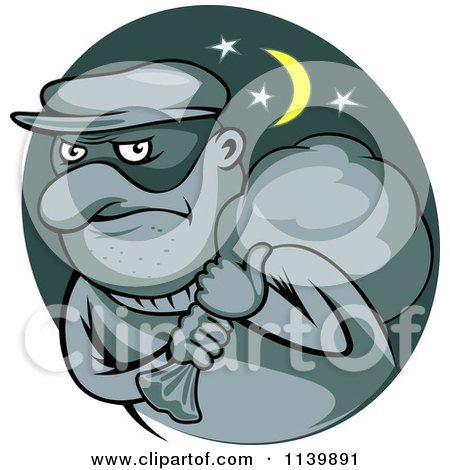 Clipart Of A Robber Carrying A Bag On His Shoulder - Royalty Free Vector Illustration by Vector Tradition SM