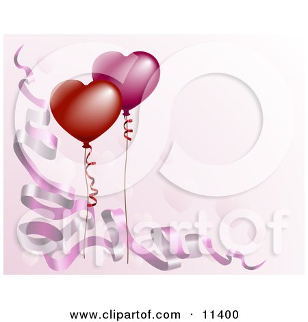 Pink Background With Ribbons and Balloons Clipart Picture by AtStockIllustration