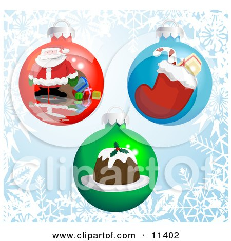 Three Christmas Bauble Ornaments With Pictures of Santa, a Stocking and Pudding Clipart Illustration by AtStockIllustration