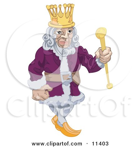 Proud King in a Purple Robe, Holding a Staff and Wearing a Crown Clipart Illustration by AtStockIllustration