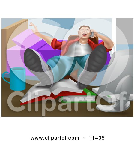 Lazy Man Talking on the Phone With His Feet up on Books on a Table Clipart Illustration by AtStockIllustration