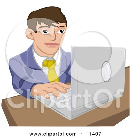 Young Businessman Working on a Laptop Computer Posters, Art Prints