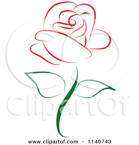 Clipart Of A Beautiful Single Red Rose 1 - Royalty Free Vector Illustration by Vitmary Rodriguez