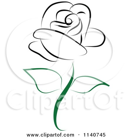 Clipart Of A Beautiful Single Black Rose 2 - Royalty Free Vector Illustration by Vitmary Rodriguez