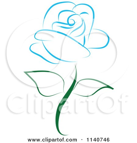 Clipart Of A Beautiful Single Blue Rose 2 - Royalty Free Vector Illustration by Vitmary Rodriguez