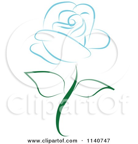 Clipart Of A Beautiful Single Blue Rose 3 - Royalty Free Vector Illustration by Vitmary Rodriguez