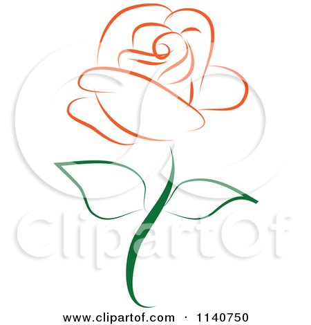 Clipart Of A Beautiful Single Orange Rose 1 - Royalty Free Vector Illustration by Vitmary Rodriguez