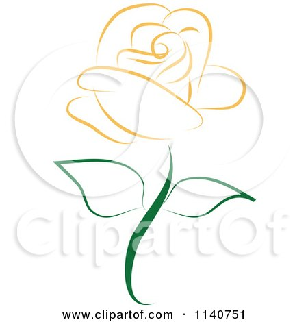 Clipart Of A Beautiful Single Orange Rose 2 - Royalty Free Vector Illustration by Vitmary Rodriguez