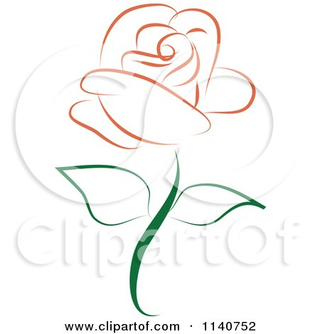 Clipart Of A Beautiful Single Peach Rose 1 - Royalty Free Vector Illustration by Vitmary Rodriguez