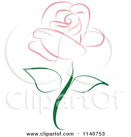 Clipart Of A Beautiful Single Pink Rose 2 - Royalty Free Vector Illustration by Vitmary Rodriguez