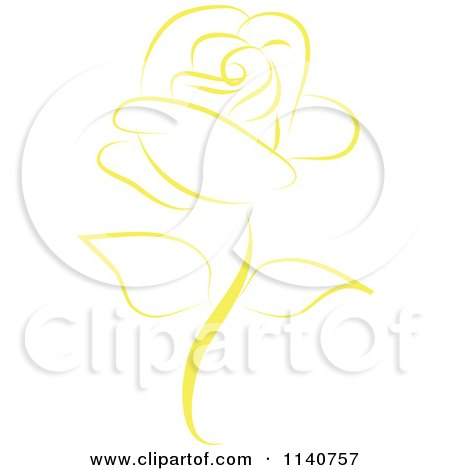 Clipart Of A Beautiful Single Yellow Rose 2 - Royalty Free Vector Illustration by Vitmary Rodriguez