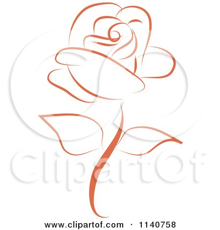 Clipart Of A Beautiful Single Peach Rose 2 - Royalty Free Vector Illustration by Vitmary Rodriguez
