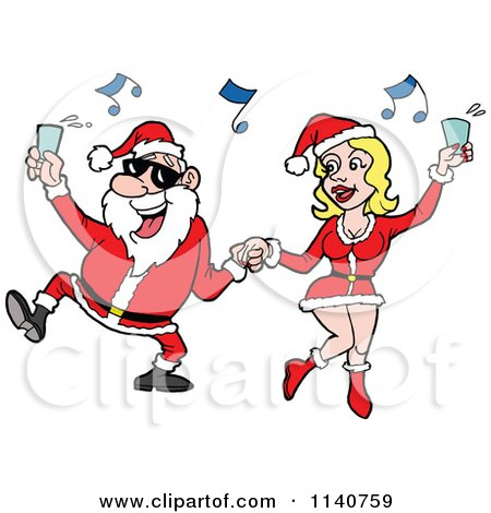 Cartoon Of Santa Holding Up A Drink And Dancing With A Sexy Mrs Clause - Royalty Free Vector Clipart by LaffToon