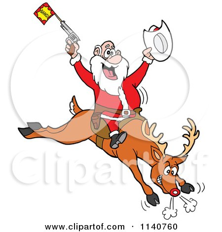 Cartoon Of A Rodeo Santa Riding A Bucking Rudolph Reindeer - Royalty Free Vector Clipart by LaffToon
