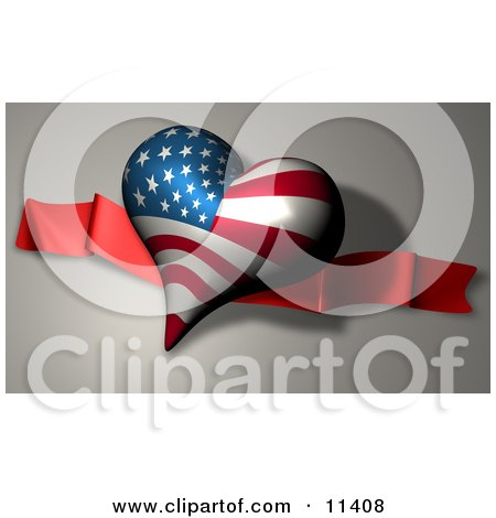 Heart With American Stars and Stripes Pattern on Independence Day Clipart Illustration by AtStockIllustration