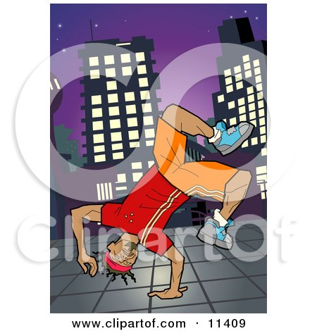 African American Breakdancer Doing a One Handed Handstand on a Sidewalk at Night Posters, Art Prints