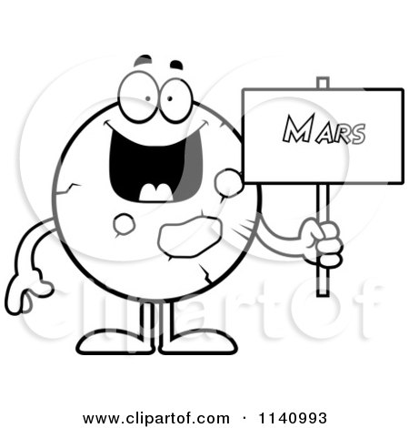 Cartoon Clipart Of A Black And White Planet Mars Holding A ...