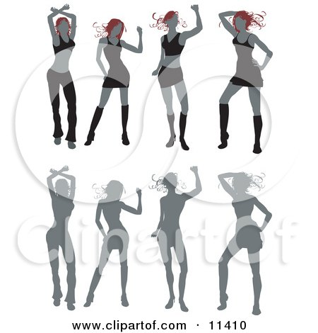 Woman Dancing With Her Silhouetted Figures Below Clipart Illustration by AtStockIllustration