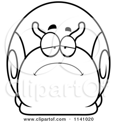Cartoon Clipart Of A Black And White Depressed Sad Snail - Vector Outlined Coloring Page by Cory Thoman