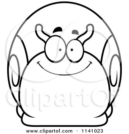 Cartoon Clipart Of A Black And White Happy Snail - Vector Outlined Coloring Page by Cory Thoman