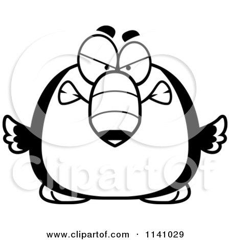 cartoon clipart of a black and white angry toucan bird vector rh clipartof com