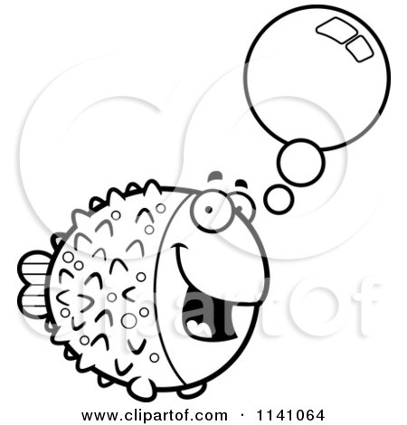 Cartoon Clipart Of A Black And White Talking Blowfish - Vector Outlined Coloring Page by Cory Thoman