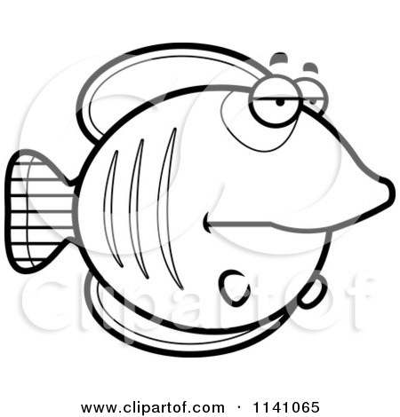 Cartoon Clipart Of A Black And White Bored Butterflyfish - Vector Outlined Coloring Page by Cory Thoman